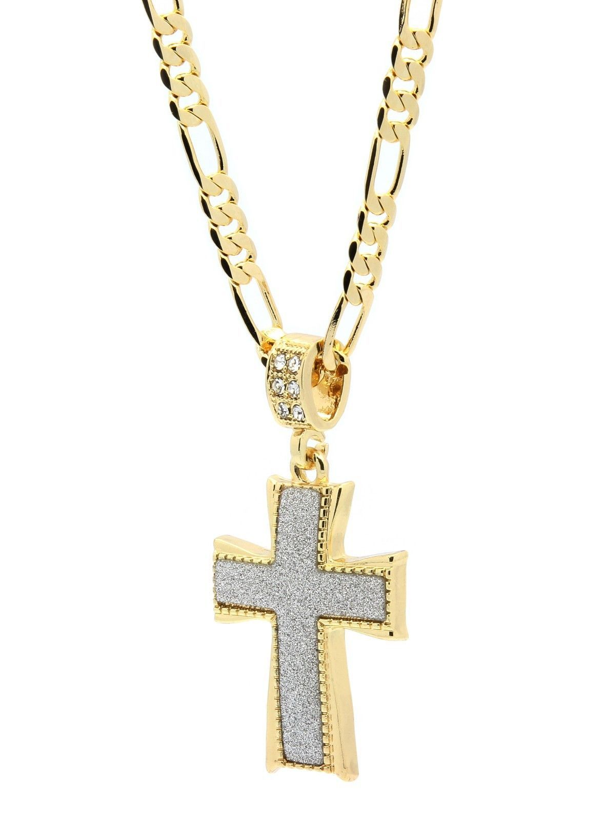 mens 14k gold plated stardust dome cross thick pendant hip. Black Bedroom Furniture Sets. Home Design Ideas
