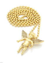 "Angel Piece Pendant 27""  Ball Chain Necklace Gold Plated Half Iced Out - £15.05 GBP"