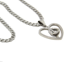 """Mens Silver Plated Stainless Steel Two Hearts Pendant with 4mm 30"""" Cuban... - £10.45 GBP"""