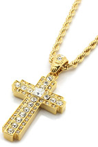 "Gold Iced Out Cz Cross Pendant Hip-Hop 24"" Inch Rope Necklace Chain Cent... - $14.84"