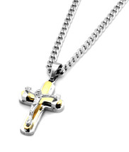 "Silver 2 Tone Stainless Steel Mini Tied Cross Pendant 24"" Cuban Necklace... - $15.83"