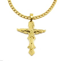 "Men 30"" Gold Stainless Steel 8mm Cuban Link Chain Necklace Cross Pendant G1 - $29.69"