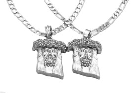 Silver Plated Jesus Charm Micro Pendant Figaro & Cuban Chain Necklace se... - $18.80