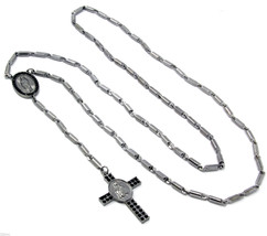 """Gun Hema 39"""" Black Iced Out Guadalupe Cross Rosary Charm Pendant Smooth ... - $14.84"""