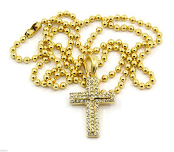 Cross Piece Charm Mini Micro Pendant Ball Chain Necklace Jewelry Gold Pl... - £9.16 GBP