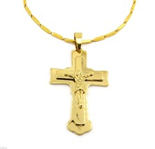 """Men 24"""" Gold Stainless Steel 3mm box Chain Necklace Cross Pendant G3 - $29.69"""