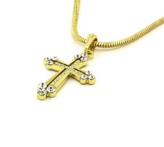 Cross Cz End Charm Gold Finish Piece Pendant Snake Franco Chain Necklace... - $14.84