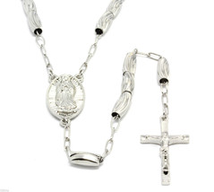 Silver 36 Inch Diamond Cut Rosary Chain Jesus Cross Pendant with Guadalupe - £24.85 GBP