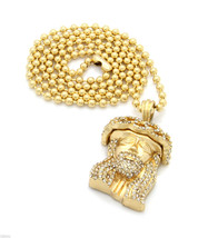 "Jesus Piece Charm Pendant 27"" Ball Chain Necklace Gold Plated Iced Out 02 - $19.79"