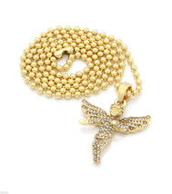 """Angel Piece Pendant 27""""  Ball Chain Necklace Gold Plated Full Iced Out - $19.79"""
