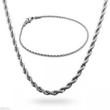 "Stainless Steel 2mm French Rope Chain & Bracelet Mens Necklace 24"" Inch - $15.82"
