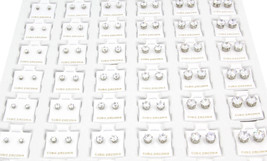 316L Surgical Steel 72 Pairs Of Clear Round Princess Cz Stud Earrings 3-8mm - $98.99