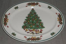 Johnson Brothers VICTORIAN CHRISTMAS PATTERN Oval Serving Platter ENGLAND  - $19.79