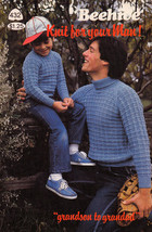 Knit Your Man! Grandson To Grandad Beehive #432 Cardigans Vests Pullovers Aran - $4.98