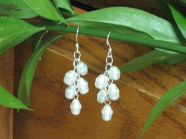 White Frosted Rice Glass Pearl Cascading Cluste... - $2.75