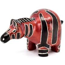 Crafts Caravan Hand Carved Soapstone Red & Black Chubby Zebra Figurine Kenya image 2