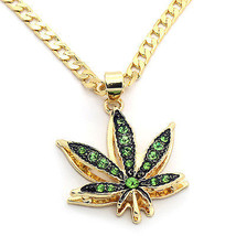 "14k Gold Plated Mini Marijuana Green CZ Stone Pendant 24"" Cuban Chain Ne... - $13.85"
