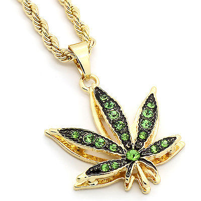 "14k Gold Plated Mini Marijuana Green CZ Stone Pendant 24"" Rope Chain Necklace"