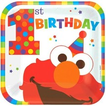 "Elmo Turns One 8 9"" Dinner Lunch Plates 1st Birthday Party Sesame Street - $5.44"