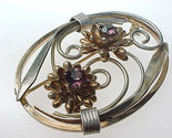 12K GOLD FILLED Vintage Brooch Pin with PURPLE Rhinestones - Beautiful Piece!!!