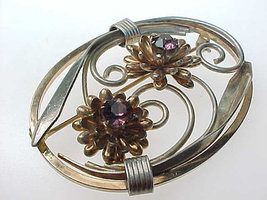 12K GOLD FILLED Vintage Brooch Pin with PURPLE Rhinestones - Beautiful P... - $80.00
