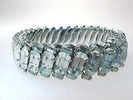 Brilliant WHITE RHINESTONES Stretch BRACELET set in STAINLESS STEEL - GO... - £180.65 GBP
