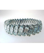 Brilliant WHITE RHINESTONES Stretch BRACELET set in STAINLESS STEEL - GO... - $225.00