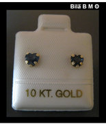 SAPPHIRE Stud EARRINGS in 10K YellowGOLD - Heart Shaped - .48 carats tot... - $38.50