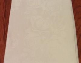 12 COTTON BLEND WHITE FLOWERED NAPKINS, 20 INCH - $10.99