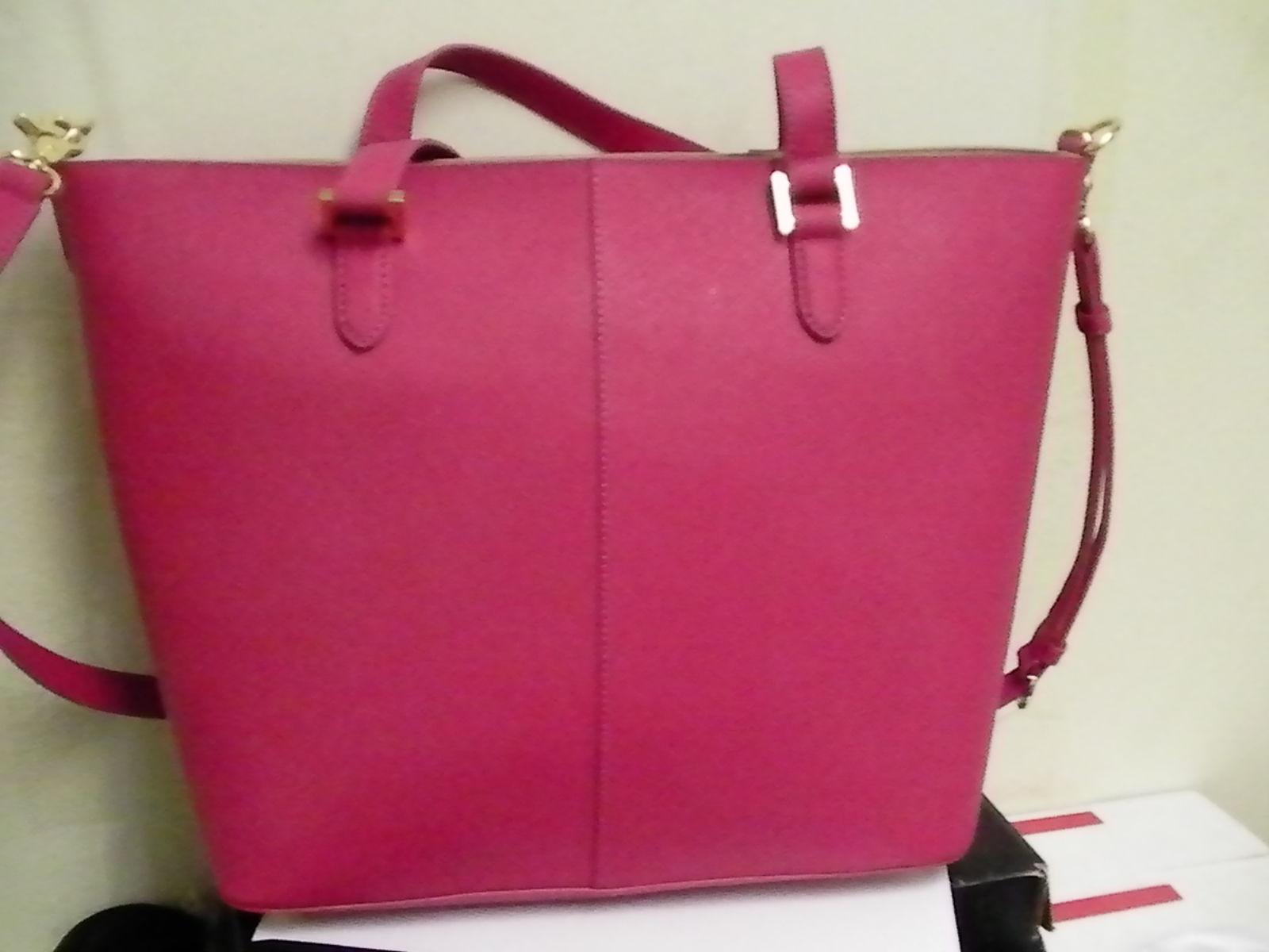 DKNY Donna Karan Saffiano Leather Tote Shoulder Bag Magenta