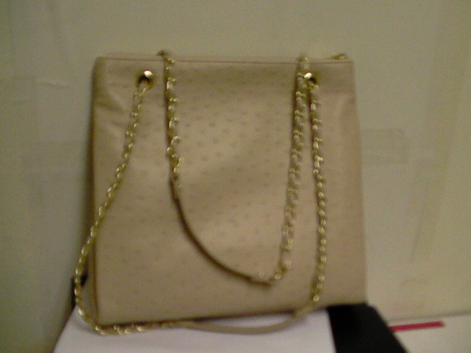 DKNY donna karan shoulder handbag ostrich leather sand purse