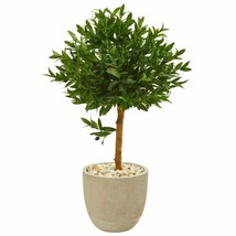 """Multicolor 40"""" Olive Topiary Artificial Tree in Sand Stone Planter UV Resistant - $212.44"""