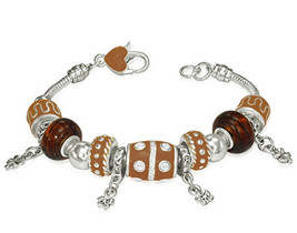Brown Beaded Flower Womens Charm Bracelet w/ CZ - $13.00