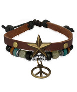 Wrap Rope Bali Wood Bead Star Stud Peace Sign Charm Brown Leather Bracelet - $9.00
