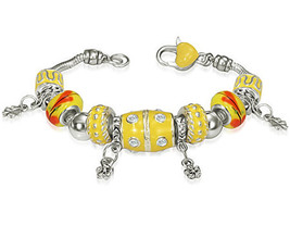 Yellow Beaded Flower Womens Charm Bracelet w/ CZ - $10.00