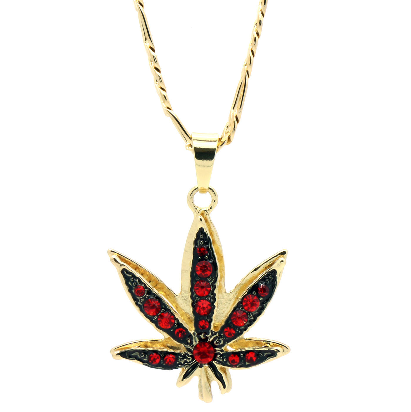 "14k Gold Plated Marijuana Red CZ Stone Pendant 24"" Figaro Chain Necklace"