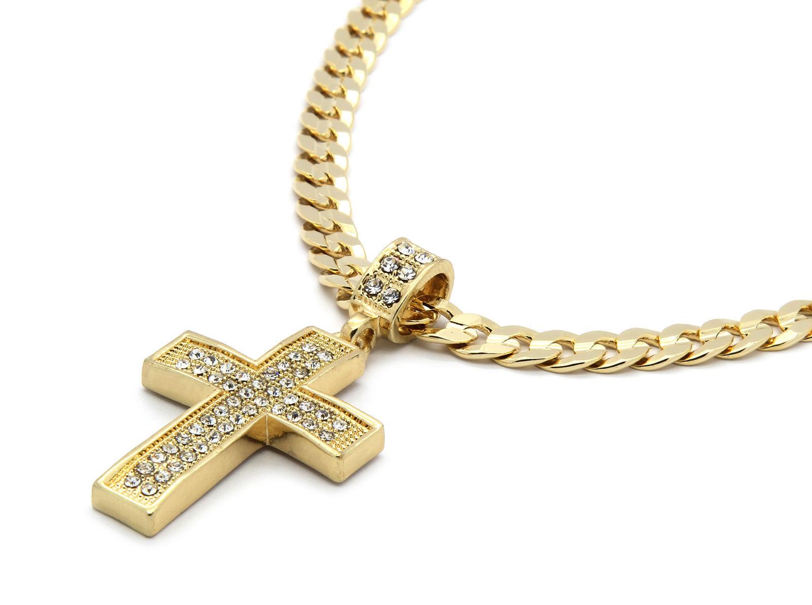"Mens 14k Gold Plated Cz G4-Dome Cross Pendant Hip-Hop 24"" Cuban Necklace Chain"