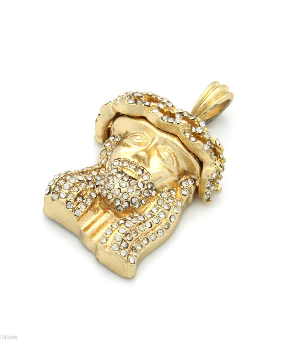 """Jesus Piece Charm Pendant 27"""" Ball Chain Necklace Gold Plated Iced Out 02"""