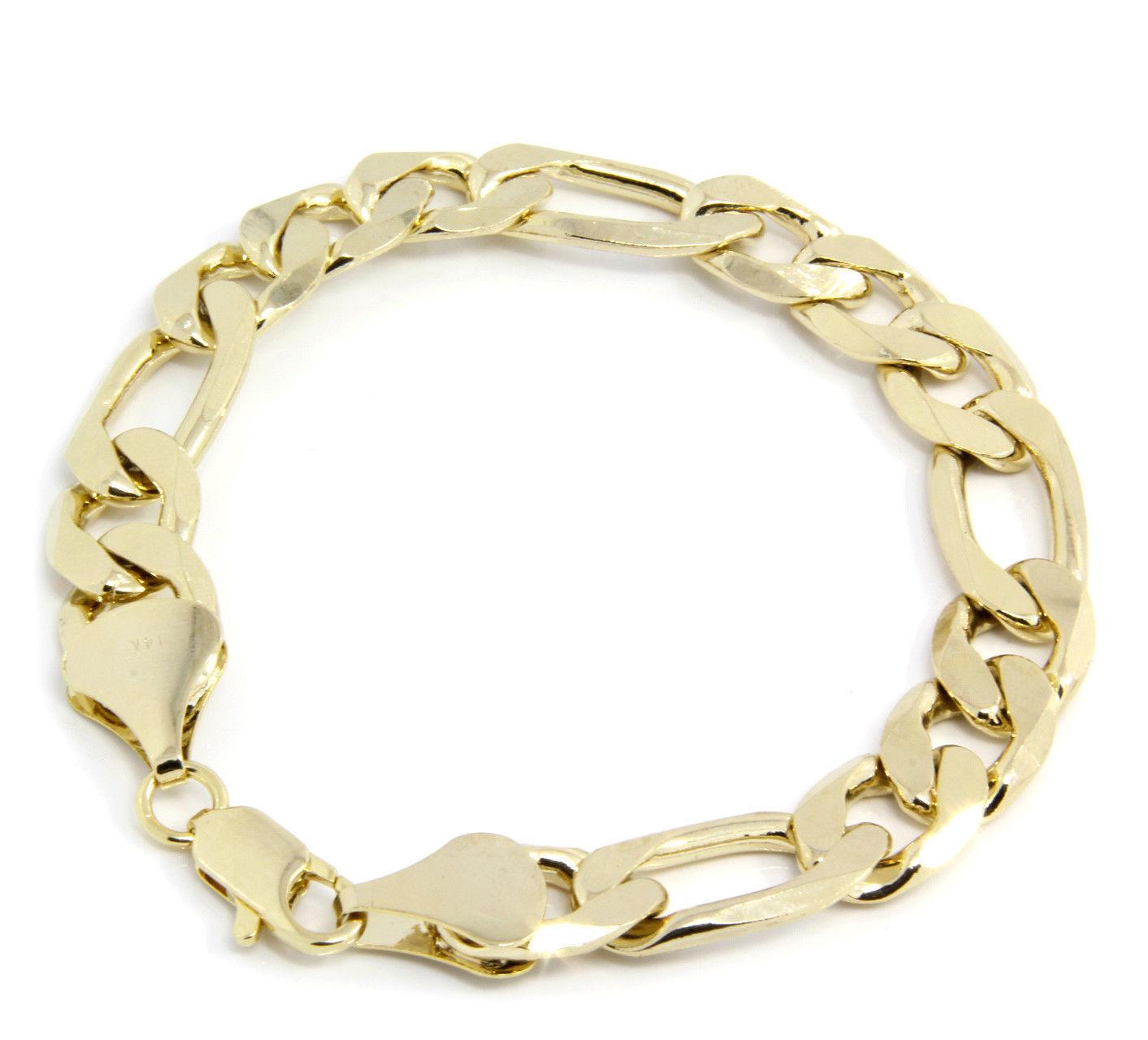 Gold Wrist Bracelet: 14k Gold Tone Plated 10mm-12mm Sparkling Figaro Link Wrist