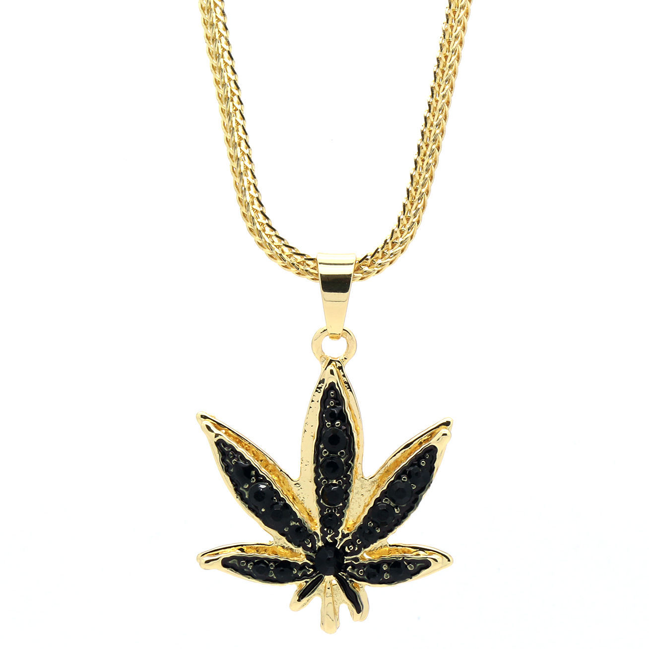 "14k Gold Plated Marijuana Black CZ Stone Pendant 24"" Franco Chain Necklace"