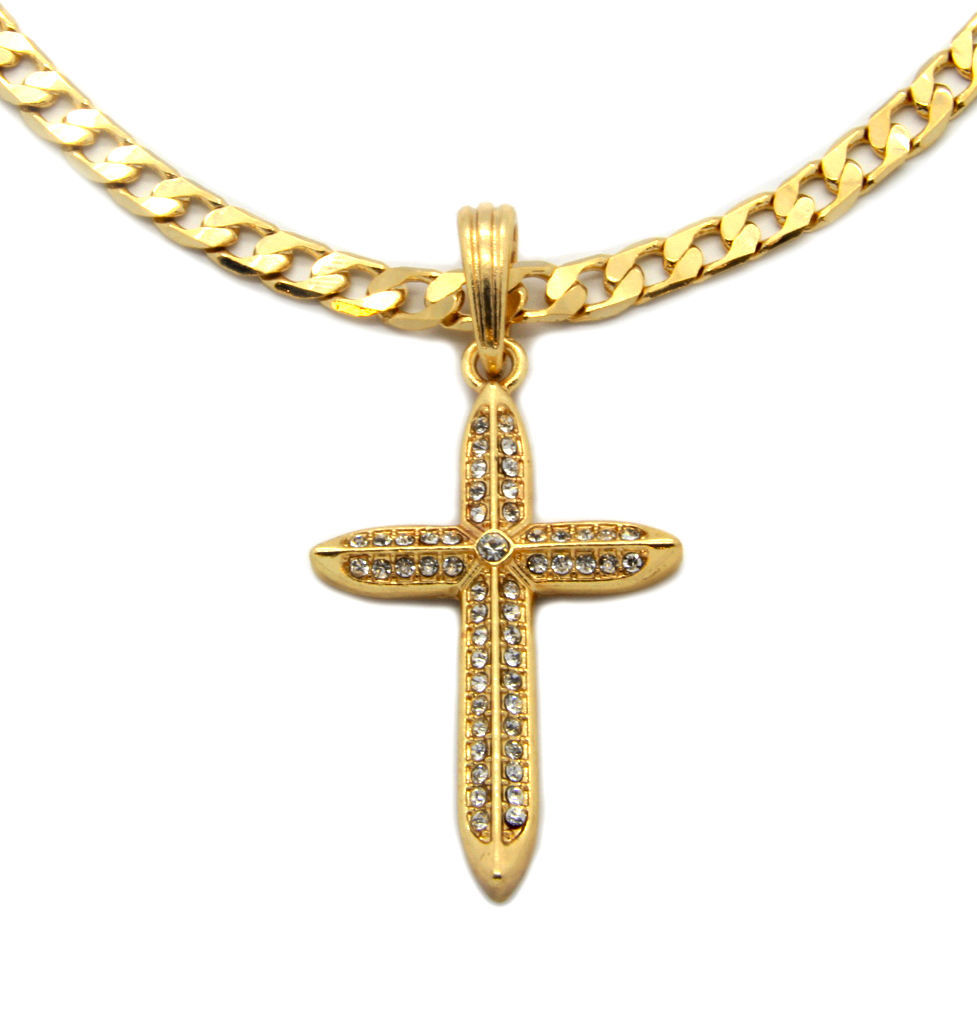 Cross Charm Gold Plated Piece Pendant Cuban Chain Necklace Jewelry 014
