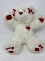 "Build A Bear White With Red Hearts 13""Plush Stuffed Animal - $19.38"