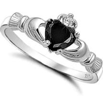 Sterling Silver Claddagh ring size 9 CZ Heart Crown Onyx Black Irish New... - $10.89