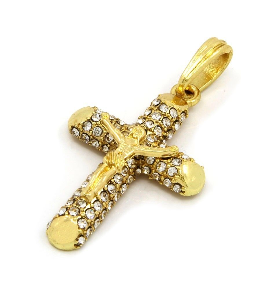 Cross Charm Gold Plated Piece Pendant Cuban Chain Necklace Jewelry 0003