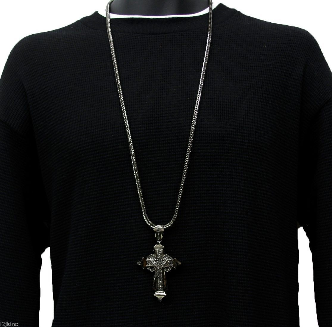 """Mens Gray Iced Out X Shape Cross Pendant Hip-Hop 36"""" Inch Franco Necklace Chain"""