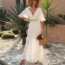 New white lace V neck ruffle boho maxi length women A line long dress bo... - £40.28 GBP