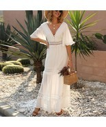 New white lace V neck ruffle boho maxi length women A line long dress bo... - $56.00