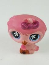 Hasbro Littlest Pet Shop LPS #496 Pink Barn Owl Bird With Flower Blue Eyes - $8.81