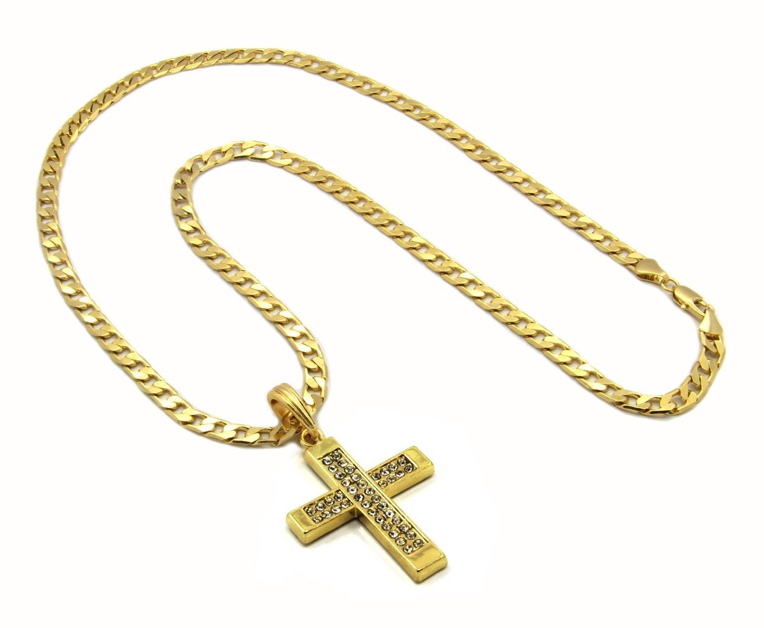 Cross Charm Gold Plated Piece Pendant Cuban Chain Necklace Jewelry 0007