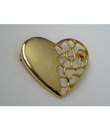 Large Heart Pin In Open Design. Gold Tone Mesh Heart Pin. - $11.00